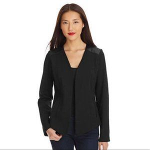 EILEEN FISHER Black Angle Ponte Leather Jacket